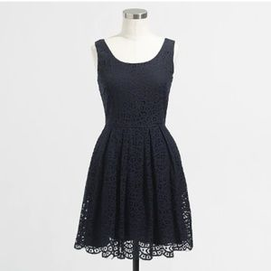 J. Crew Swirling Lace Dress Navy Blue with Pockets